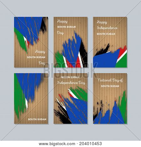 South Sudan Patriotic Cards For National Day. Expressive Brush Stroke In National Flag Colors On Kra