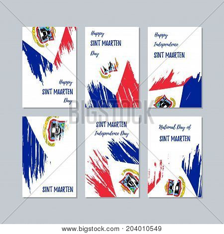 Sint Maarten Patriotic Cards For National Day. Expressive Brush Stroke In National Flag Colors On Wh
