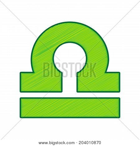 Libra sign illustration. Vector. Lemon scribble icon on white background. Isolated