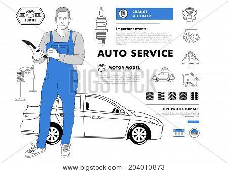 Auto service contour line composition. Technology operations. Diagnostics machine centre. Mechanic worker on station. Awesome big set thin style. Automobile pictogram and icons elements for web.