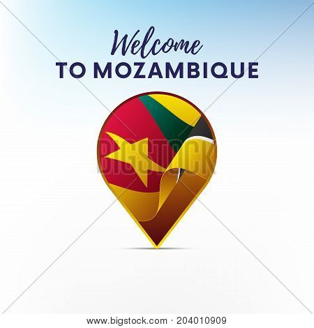 Flag of Mozambique in shape of map pointer or marker. Welcome to Mozambique. Vector illustration.