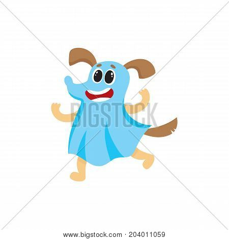 Funny dog, puppy character dressed as ghost for Halloween party, cartoon vector illustration isolated on white background. Happy cartoon dog celebrating Hallowing in ghost fancy dress, trick of treat