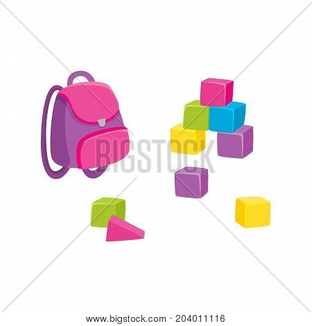 Cartoon school bag, backpack and set of colorful wooden blocks, cubes, vector illustration isolated on white background. Colorful cartoon schoolbag, backpack and wooden block toys, childhood objects