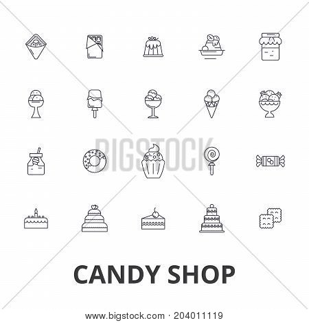 Candy shop, candy store, sweet shop, candy bar, lollipop, shopping, ice cream line icons. Editable strokes. Flat design vector illustration symbol concept. Linear signs isolated on white background