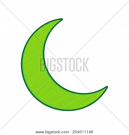 Moon sign illustration. Vector. Lemon scribble icon on white background. Isolated