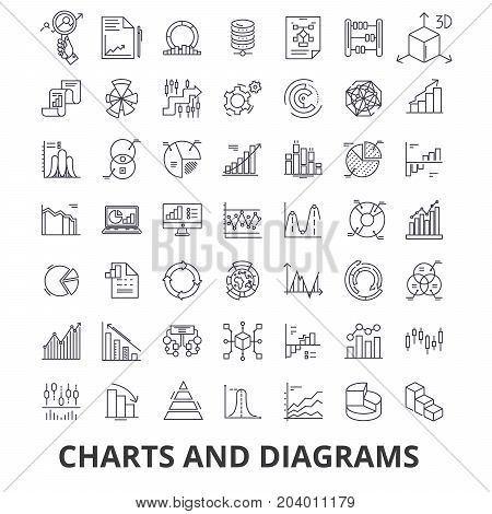 Charts and diagrams, diagram element, flow chart, circle diagram, graphic, arrow line icons. Editable strokes. Flat design vector illustration symbol concept. Linear signs isolated on white background