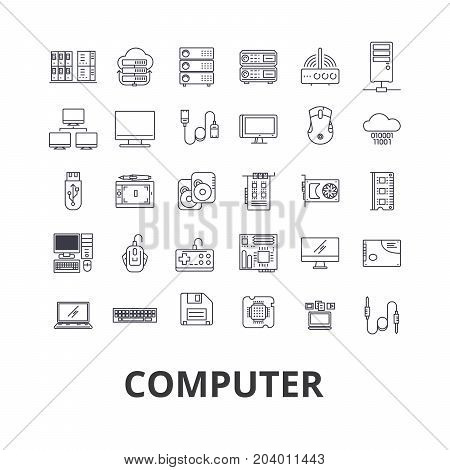 Computer, laptop, computer screen, technology, internet, mouse, monitor, network line icons. Editable strokes. Flat design vector illustration symbol concept. Linear signs isolated on white background