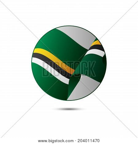 Dominica flag button with shadow on a white background. Vector illustration.
