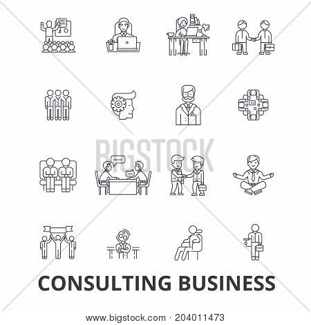 Consulting business, business meeting, business solution, business concept, team line icons. Editable strokes. Flat design vector illustration symbol concept. Linear signs isolated on white background