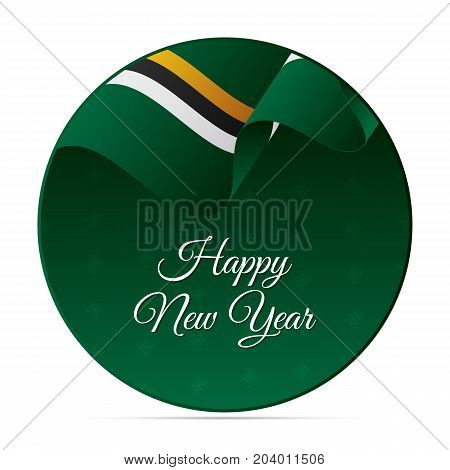 Happy New Year banner or sticker. Dominica waving flag. Snowflakes background. Vector illustration.