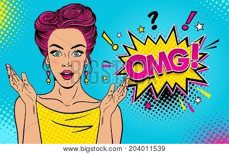 Wow female face. Sexy surprised young woman with open mouth and pink pin up hair bright makeup and OMG speech bubble. Vector colorful background in pop art retro comic style. Party invitation poster.