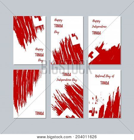 Tonga Patriotic Cards For National Day. Expressive Brush Stroke In National Flag Colors On White Car