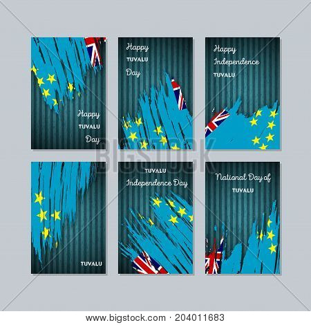 Tuvalu Patriotic Cards For National Day. Expressive Brush Stroke In National Flag Colors On Dark Str