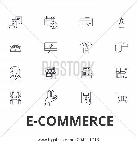 E-commerce, online shopping, website, internet, cart, e-business, e-learning line icons. Editable strokes. Flat design vector illustration symbol concept. Linear signs isolated on white background
