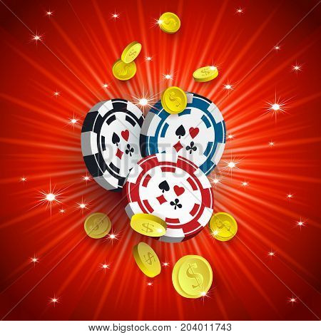 Casino banner, poster design with chips, tokens and falling golden coins on red background, vector illustration. Casino, gambling chips tokens and falling golden coins, banner, poster, postcard design