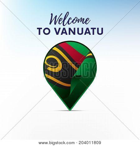 Flag of Vanuatu in shape of map pointer or marker. Welcome to Vanuatu. Vector illustration.