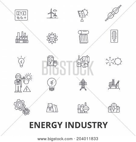 Energy industry, oil and gas, efficiency, saving, green energy, hydroelectric line icons. Editable strokes. Flat design vector illustration symbol concept. Linear signs isolated on white background
