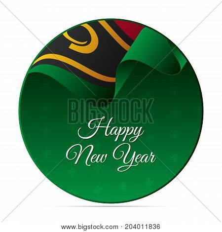 Happy New Year banner or sticker. Vanuatu waving flag. Snowflakes background. Vector illustration.