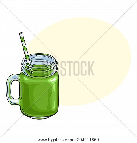Hand drawn matcha green tea cocktail, drink, smoothie in glass jar, mug served with straw, sketch vector illustration with space for text.