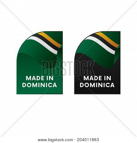 Stickers Made in Dominica. Waving flag. Vector illustration.