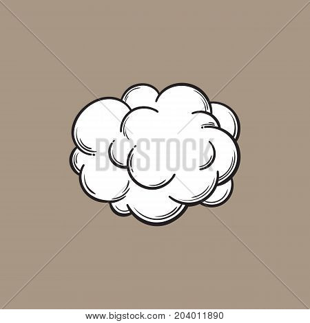 Hand drawn fog, smoke cloud, black and white comic style sketch vector illustration isolated on color background. Hand drawing of smoke, cloud, haze, comic style design element