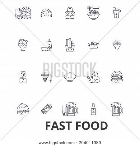 Fast food, restaurant, pizza, hamburger, burger, junk, hot dog, french fries line icons. Editable strokes. Flat design vector illustration symbol concept. Linear signs isolated on white background