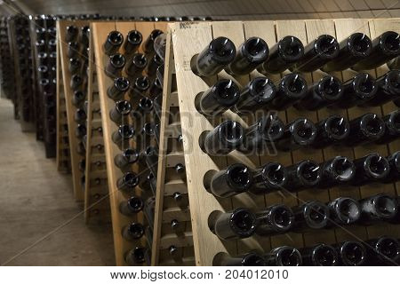 Racks with bottles of sparkling wine in the basement in a winery cellar