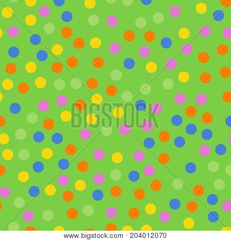 Colorful Polka Dots Seamless Pattern On Bright 2 Background. Extraordinary Classic Colorful Polka Do