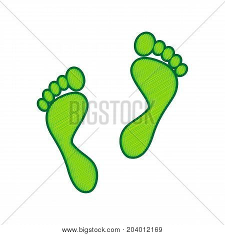 Foot prints sign. Vector. Lemon scribble icon on white background. Isolated