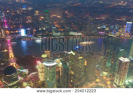 Aerial Photography At Shanghai City Landmark Buildings Of Night