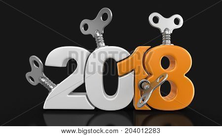 3d Illustration. New Year 2018 with winding keys. Image with clipping path.