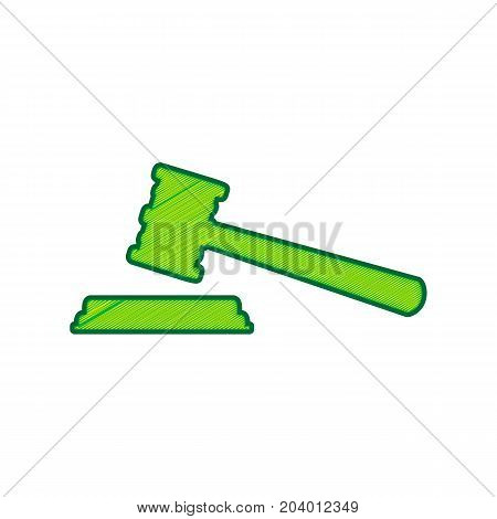 Justice hammer sign. Vector. Lemon scribble icon on white background. Isolated