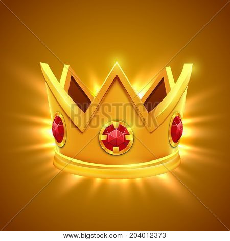 Golden king crown with red jewels. King crown. Golden crown. Isolated crown image. Crown picture. King crown with jewelry. Crown vector. Vector illustration