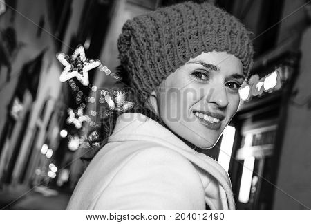 Woman At Christmas On Mysterious Streets Of Florence, Italy