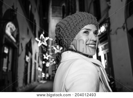 Woman Walk Around Mysterious Streets Of Christmas Florence
