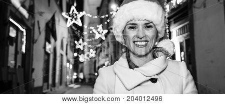 Smiling Young Woman At Christmas In Florence, Italy