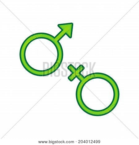 Sex symbol sign. Vector. Lemon scribble icon on white background. Isolated