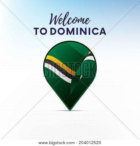 Flag of Dominica in shape of map pointer or marker. Welcome to Dominica. Vector illustration.
