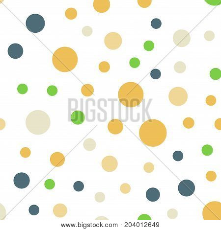 Colorful Polka Dots Seamless Pattern On Black 13 Background. Interesting Classic Colorful Polka Dots