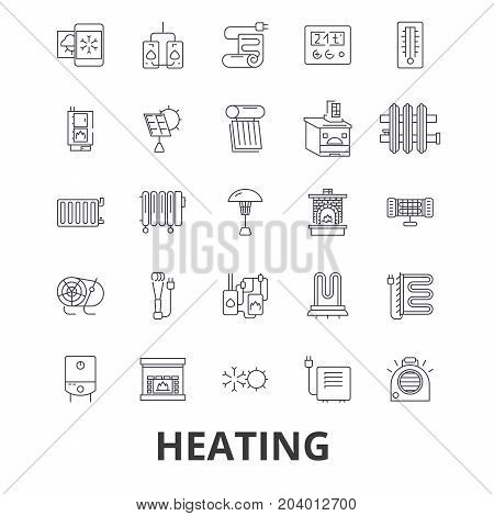 Heating, hot, heart, radiator, heater, heating system, fire, wave, warm, sun line icons. Editable strokes. Flat design vector illustration symbol concept. Linear signs isolated on white background