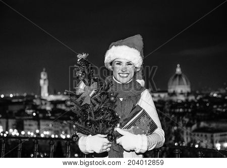 Woman At Piazzale Michelangelo With Christmas Tree And Gift