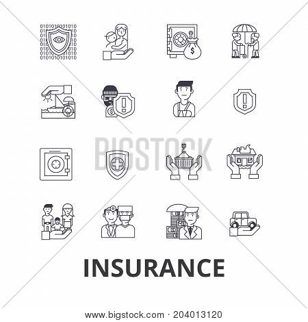 Insurance, health insurance, insurance agent, life insurance, protection, safety line icons. Editable strokes. Flat design vector illustration symbol concept. Linear signs isolated on white background