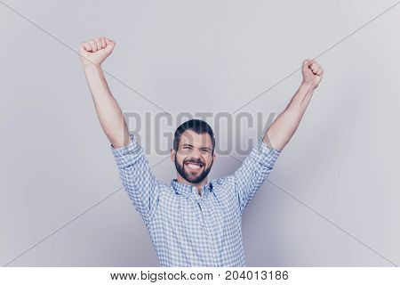 Yes! Wow! Happy Young Student Passed All Exams, He Is Celebrating, Wearing Smart Shirt, Jumps On A P