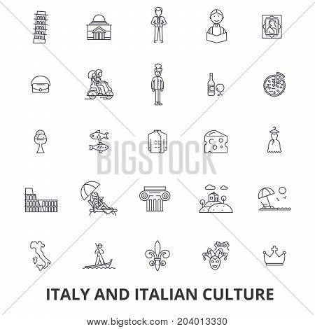 Italy, rome, italy map, italy flag, italian, pizza, gondola, cheese, carnival line icons. Editable strokes. Flat design vector illustration symbol concept. Linear signs isolated on white background