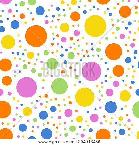 Colorful Polka Dots Seamless Pattern On White 2 Background. Wonderful Classic Colorful Polka Dots Te
