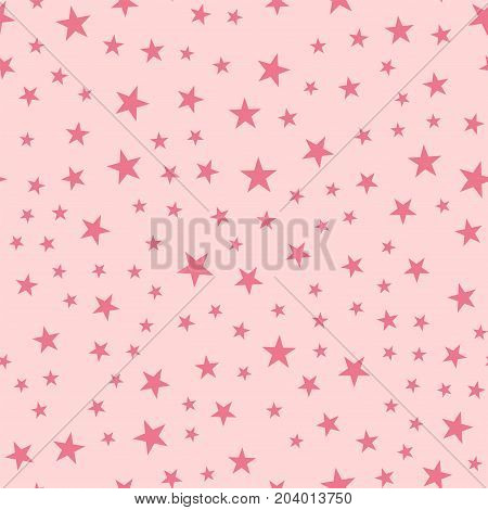 Pink Stars Seamless Pattern On Light Pink Background. Fascinating Endless Random Scattered Pink Star