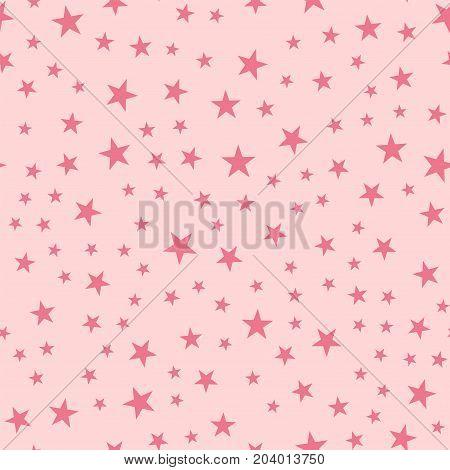 Pink Stars Seamless Pattern On Light Pink Background. Fascinating Endless Random Scattered Pink Star