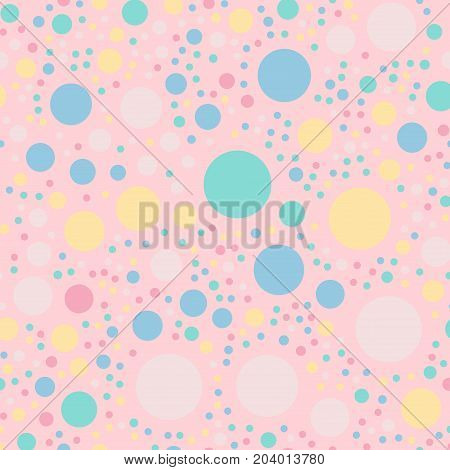 Colorful Polka Dots Seamless Pattern On Bright 9 Background. Terrific Classic Colorful Polka Dots Te