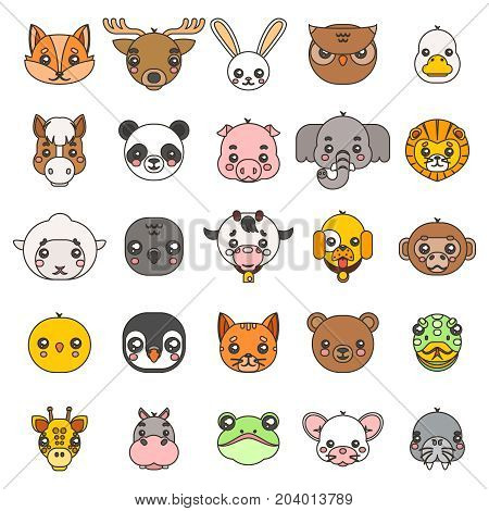 Line art animals cute baby cartoon cubs flat head design icons set character vector illustration
