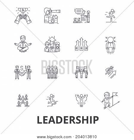 Leadership, leader, management, teamwork, lead, development, success, innovation line icons. Editable strokes. Flat design vector illustration symbol concept. Linear signs isolated on white background